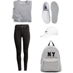 Back At It Again With The White Vans by maria1c on Polyvore featuring Blair, H&M, Vans, Joshua's and NIKE