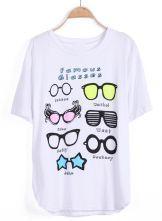White Short Sleeve Glasses Print T-Shirt $20.16 #SheInside