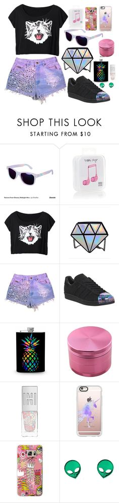 """""""Sans titre #143"""" by hadhri-rania ❤ liked on Polyvore featuring Happy Plugs, adidas and Casetify"""