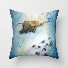 Elephant Swimming Throw Pillow Society6