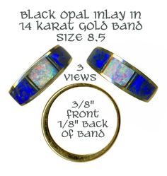 Ring Modern Black Opal Inlay in Heavy 14 KT Gold Band Comfortable ~ R C Larner Buttons at eBay & Etsy        http://stores.ebay.com/RC-LARNER-BUTTONS
