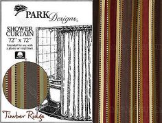Timber Ridge Shower Curtain by Park Designs, 72x72, Striped, Cabin, Lodge Style in Home & Garden, Bath, Shower Curtains   eBay