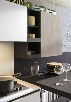 Top cabinets in the kitchen with smart lighting