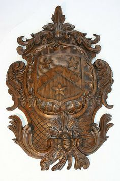 Gravestein Family Coat Of Arms Carved In Wood Heraldic