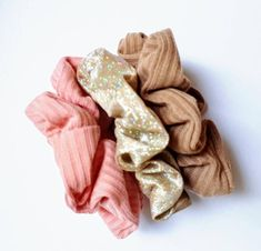 3 Scrunchie Pack | Soft Gold Metallic Scrunchie, Pink Ribbed Cotton Scrunchie, Tan Ribbed Scrunchie  Our Premium scrunchies are much kinder than regular elastics = less snags and breakage. Super comfortable to wear! ♥Our premium OEKO-TEX Certified elastic that we use sets us apart from others. ♥Soft & stretchy and extremely gentle to your hair and skin. ♥Super comfortable to wear. ♥Perfect for working out, and everyday use. ♥Great for all hair types, ages and they make great gifts!