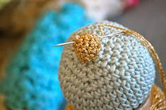 Materials   dk cotton   4ply gold yarn (I use Twilley's Goldfingering)   3.5mm crochet hook   2.5mm crochet hook   stuffing       Abbrevi...