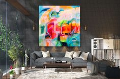 Items similar to Large Modern Wall Art Painting,Large Abstract wall art,painting colorful,xl abstract painting,canvas wall art on Etsy Large Abstract Wall Art, Large Canvas Art, Large Painting, Large Wall Art, Painting Canvas, Large Art, Gold Canvas, Canvas Canvas, Knife Painting