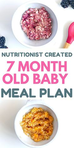 Step by step feeding schedule for you 7 month old with breakfast, lunch and dinner recipes (healthy, easy to make). With good amounts of protein, carbohydrates, fruits, vegetables. #7montholdbaby #newmom #motherhood #parenting