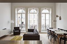 Sofas Facing Yellow Rug Wooden Storage Stand Lamp Beside Glass Windows Accomplish