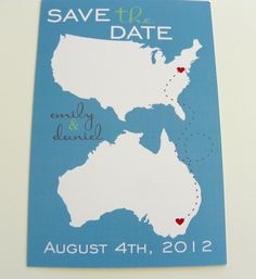 """Cute """"Long Distance Love"""" Save the Date cards..."""