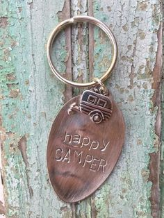 For the camping enthusiast, or for just the all 'round happy person, this vintage spoon key chain with camper charm is the perfect accessory for your {camper} k