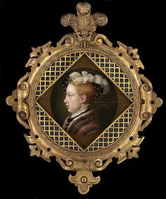 This portrait is a fine example of the profile likeness taken when Edward was about nine years old, on the eve of his succession as King. The original example, which has yet to be conclusively identified, but which may be in the Met Museum, New York, was almost certainly done by William Scrots, a talented Flemish artist first employed by Henry VIII as the King's Painter from 1546. A larger example, thought to be from Scrot's studio, is in the National Portrait Gallery, Lo...
