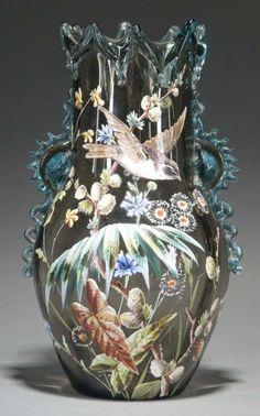 Moser Decorated Glass Vase. Circa 1885.