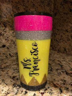 Handmade Epoxy Glitter Tumbler made Especially for a Beautiful Teacher. Kids Tumbler, Tumbler Cups, Vinyl Tumblers, Custom Tumblers, Christmas Tumblers, Cricut Craft Room, Custom Cups, Diy Resin Crafts, Glitter Cups