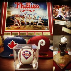 . Roy Halladay (1977-2017) forever a Blue Jay and a Philly  The collage shows memorabilia of Halladay at the Cooperstown Gallery in Citizens Bank Park the home of Philadelphia Phillies I visited back in 2015.  As growing up in Toronto supporting the Blue Jays and the Phillies Halladay has a special place in my heart.  I remember being so stoked when I heard Halladay is coming to the Phillies my favourite team from the Blue Jays my hometown team that I also like.  Truly one of the greatests…