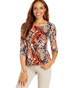Jm Collection Petite Multicolor Jacquard Top, Only at Macy's