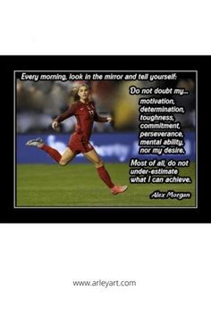 Motivational soccer quote wall art. Inspirational Alex Morgan poster. Quote Wall, Wall Art Quotes, Alex Morgan Poster, Motivational Soccer Quotes, Soccer Motivation, Birthday Wall, Look In The Mirror, Quote Posters, Soccer Players