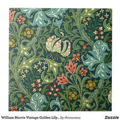 William Morris Golden Lily pattern on tile (Huntington Museum base pattern), medium variation William Morris Wallpaper, William Morris Art, Morris Wallpapers, Victorian Wallpaper, Victorian Tiles, Victorian Art, Victorian Pattern, Victorian Bedroom, William Morris Patterns
