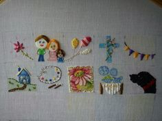 Happy Go Lucky Stitchalong Embroidery Sampler, Big Picture, Squares, Grid, Mixed Media, Kids Rugs, Craft Ideas, Stitch, Happy