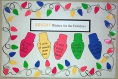 December: Happy Holidays bulletin board [BRIGHT classroom? clever]