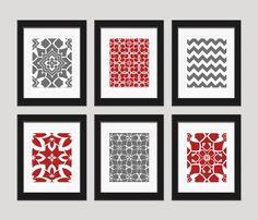 Red and Grey Art Prints, Modern Art Print Set, Home Decor, Set of 6 - 8x10 Prints, Bedroom Decor, Dining Room Art, Red Grey Wall Art