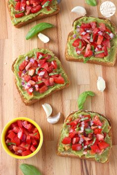 Bruschetta Guacamole Toast Recipe from A Kitchen Addiction