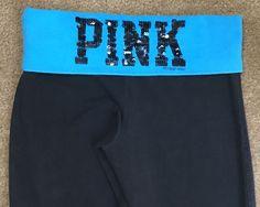 Victoria's Secret Pink S Pants Black Yoga Lounge Blue Sequin Silver Dog #VictoriasSecret #PantsTightsLeggings