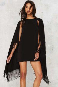 Nasty Gal Curtain Yourself Fringe Dress - Dresses : black