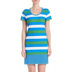 Tommy Bahama Striped Tee Shirt Dress (2.095.545 VND) ❤ liked on Polyvore featuring dresses, blue, striped summer dress, blue stripe dress, striped tee dress, tommy bahama dresses and tee shirt dress