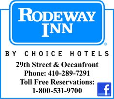 Rodeway Inn Oceanfront  2910 Baltimore Ave.  Ocean City, MD, 21842  Phone:410- 289-7291  Conveniently located one block from the OC Boardwalk.   http://www.facebook.com/rodewayinnoceanfront?ref=ts=ts