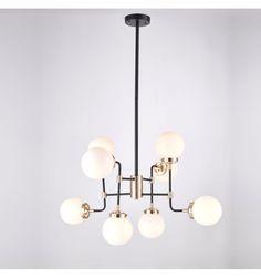 E289,- // Industriële hanglamp met 8 armen en wit glas voor woonkamer - Zenith | KosiLamp