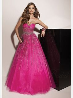Prom Dresses on Sale   Fuchsia Beaded Ball Gown Sweetheart Tulle Prom Dress - Didobridal