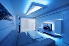 white stripes futuristic living room interior design-integrated led