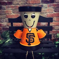 Excited to share this item from my shop: San Francisco Giants flower pot people Flower Pot People, Clay Pot People, Clay Flower Pots, Clay Pots, Giant Flowers, Purple Flowers, Terra Cotta, New England Patriots, Broncos