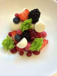 yoghurt-pandan-hibiscus-berries Elegant Desserts, Edible Art, Fruit Salad, Hibiscus, Berries, Sweet, Food, Candy, Fruit Salads