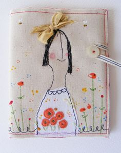 Screen printed - hand painted -  NEEDLE CASE .. pin keep ..  Keeper of the pins and needles