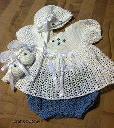 Crafts by Cheri Original Crochet Newborn Baby Dress Set-SOLD