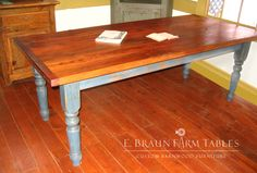 bold color on this turned-leg table, crafted by E. Braun Farm Tables and Furniture™  - We use wood from dismantled barns and log homes dating from the 1800's to early 1900's to create rustic, one-of-a-kind, reclaimed barn wood furniture, in the heart of Amish Country, Lancaster, PA. Custom orders are our specialty. Visit our showroom located in Intercourse, PA. www.braunfarmtables.com, www.Facebook.com/braun.farmtables
