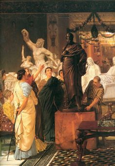 """""""A Sculpture Gallery"""", 1867 Painting by SirLawrence Alma-Tadema,  Dutch, 1836 - 1912"""