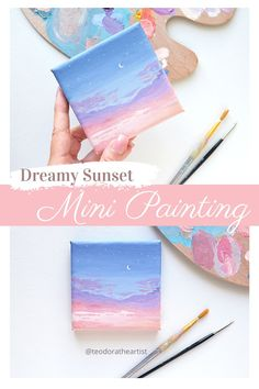 Small Canvas Paintings, Easy Canvas Art, Small Canvas Art, Easy Canvas Painting, Mini Canvas Art, Sky Painting, Mini Paintings, Acrylic Paintings, Canvas Size