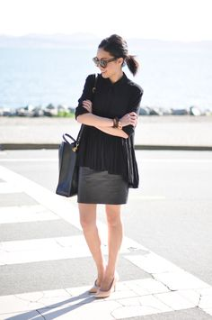 black (leather skirt + loose top)