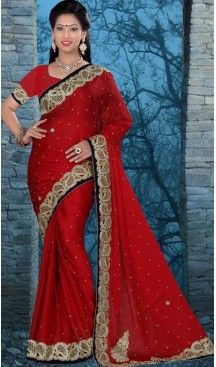 Traditional Style Designer Saree in Chiffon Satin Red Color   FH516078494 #party , #wear, #saree, #saris, #indian, #festive, #fashion, #online, #shopping, #designer, #usa, #henna, #boutique, #heenastyle, #style, #traditional, #wedding, #bridel, #casual, @heenastyle , #blouse, #prestiched, #readymade, #stitched , #Georgette , #embroidery