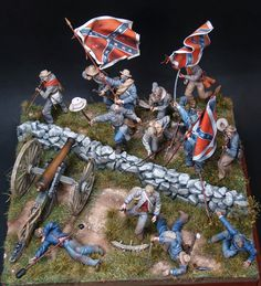 """""""Give Them The Cold Steel Boys"""" 54mm scratchbuild diorama representing the battle of Gettysburg when General Arnistead and his Virginians made their epic charge to the Union lines at the High Water Mark (July 3rd 1863).by Christos Panagiotopoulos"""