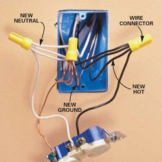 How to Wire an Outlet and Add an Electrical Outlet (DIY) | The Family Handyman Add Electrical Outlet, Outlet Wiring, Home Electrical Wiring, Electrical Projects, Electrical Outlets, Electrical Installation, Electrical Engineering, Light Switch Wiring, Electrical Connection