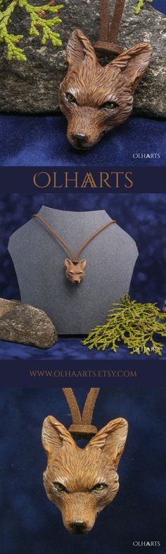#OlhaArts, #polymerclay, #polymer_clay, #handmade, #necklace, #pendant, #jackal, #polymer, #clay