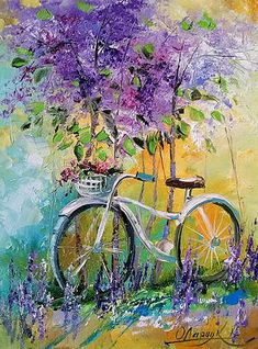 Oil Painting Flowers, Artist Painting, Diy Painting, Flower Paintings, Bicycle Painting, Bicycle Art, Bicycle Sketch, Art Carte, Acrylic Painting Canvas
