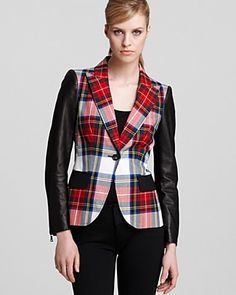 Moschino Cheap and Chic Plaid Blazer - Wool and Leather