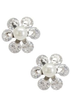 Silver & Co Silver Zirconia Pearl Flower Studs - Beyond the Rack