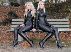 """naughty-in-boots: """" Two blondes in black """" Imper Pvc, Sexy Stiefel, Two Blondes, Black Thigh High Boots, Leder Outfits, Crazy Outfits, Latex Girls, Sexy Boots, Sexy Heels"""