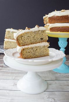 Perfectly moist, classic banana cake with a brown sugar cream cheese frosting